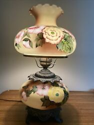 """1940 Large Accurate Cast A4093 Yellow Floral Hurricane Lamp Hand Painted 24"""""""