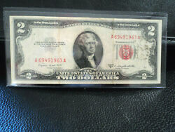 1953 Jefferson 2.00 United States Note Red Seal Serial Number A Smith Dillon