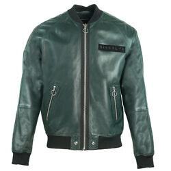 Diesel L-pins-a Green Leather Bomber Jacket