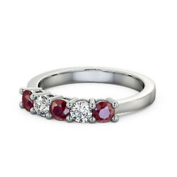 Stunning 0.66 Ct Real Ruby Diamond Engagement Band Solid Platinum Size 5 6 7 8 9