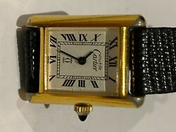 Used Must De Tank Watch Ladies Gold Plated 18k Vintage Good Condition