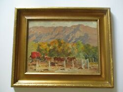 Antique Small Gem Impressionist Painting Landscape Old Horses Farm Ranch Wpa