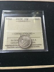 1919c Iccs Graded Newfoundland Silver ¢10 Cent, Ms-65