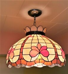 Vintage Style Hanging Stained Glass Candelabra Lamp