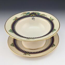 Lenox China Vintage Florida Footed Mayonnaise Bowl And Underplate Condiment