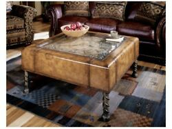 Homeroots Old World Vintage Style Map And Clock Coffee Table