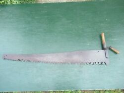 Vintage One Man Crosscut Saw With Wooden Handle In Great Condition 48 Blade