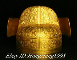 7.8 Old China Copper Filigree Gold Gilt Dynasty Emperor Official 's Hat Headgea