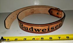 Vintage Budweiser Hand Crafted Cowhide Leather Belt No Buckle Made In Usa Bud