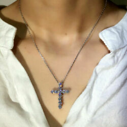 925 Sterling Sliver Cross Necklace Pendant Cross Women#x27;s Jewelry Sapphire Gift $10.99