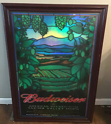 Budweiser Beer Yakima Valley Hops Stained Glass Framed Bar Mirror Sign Wa