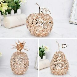 Room Decor Pineapple Crystal Ornaments Gold Silver Fruit Wrought Iron Desk Acces