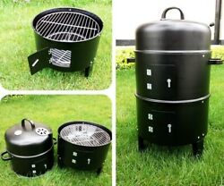 Diy Smoker Bbq Grill Round Charcoal Stove Outdoor Portable Barbecue Grills 40x80