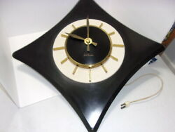 Vintage Deco Seth Thomas Black And White Electric 21 Wall Clock W/gold Hands