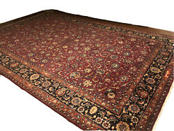 Gorgeous Semi-antique Handwoven 100 Wool Pile Rug