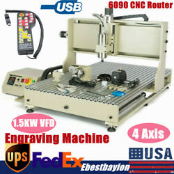 Usb 4 Axis Cnc 6090 Router Engraver Metal Milling Engraving Machine 1.5kw Vfd+rc
