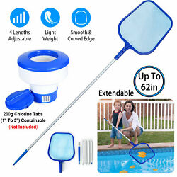 Pool Skimmer Net With Floating Pool Chlorine Dispenser For Above Ground Pools