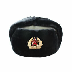 Authentic Russian Ushanka Soldier Military Winter Fur Hats W/ Soviet Army Badge