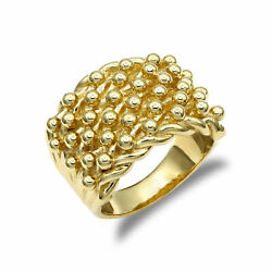 Jewelco London Mens Solid 9ct Yellow Gold 6 Row Keeper Rope Edge Ring