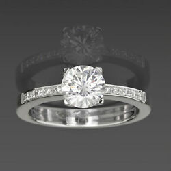 1.15 Carat 18 Kt White Gold Solitaire + Side Stones Diamond Ring Size 5 6 7 8