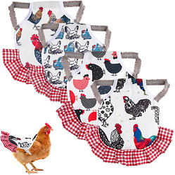 4PCS Chicken Saddle Hen Apron Jacket with Elastic Straps Wing Back Protector