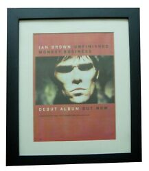 Ian Brown+roses+unfinished Monkey+poster+ad+original 1998+framed+fast World Ship