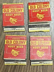G Lot Of 4 Vintage Old Colony Root Beer Soda Matchbooks Soda Advertisements