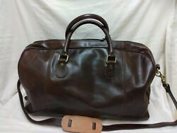 Italian Leather Overnight Bag, 20x8x12 Old Angler Excellent Condition Beautiful