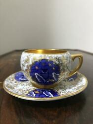 Coalport Owl Demitasse Cup And Saucer Gold Blue White England Antique Coffee Tea