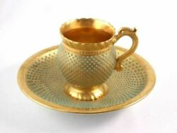 Antique Coalport Cup And Saucer Emerald Green Turquoise Gold England Tea Coffee