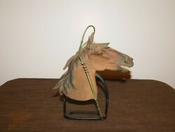 Vintage 10 High Metal Horse Head On Stand
