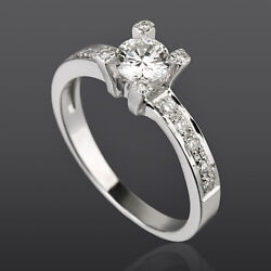 Solitaire And Accents Diamond Ring Vvs1 D Round 1 Ct 18k White Gold Size 6 7 8