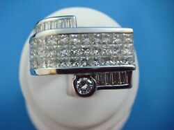 3.00 Carat Menand039s 18 K. Gold Heavy 26.7 Grams High End Ring Size 10 Princess Cut