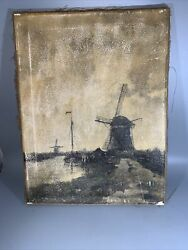 Vintage Landscape Sailboat Windmill Water Way Original Oil Painting Late 1800's