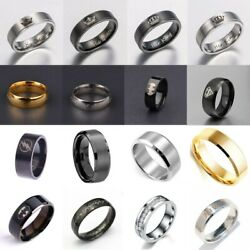 Menand039s 8mm Fashion Titanium Stainless Steel Ring Black/gold/silver Us Size 6-12