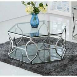 Best Master Furniture Octagon Glass Coffee Table Silver Glam, Modern And Contempor