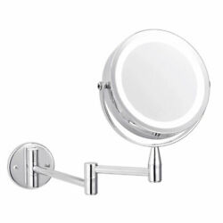 10X Magnifying LED Wall Mounted Makeup Mirror with Lights Wall Bathroom Mirrors