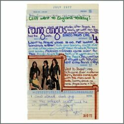 Angus Young 77 Handwritten And Signed Note Page From His Girlfriends Diary Aus