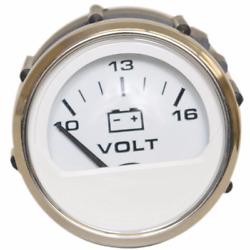 Faria Boat 10 - 16 Volt Meter Gauge Vpc906a | White / Silver 2 Inch