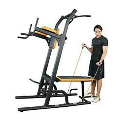 Power Tower Dip Station Multi-function Pull Up Bar With Bench Adjustable