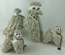 """Large Poodle Family Figurine On Chain Spaghetti Trim White 8"""" Dog Puppy Vintage"""