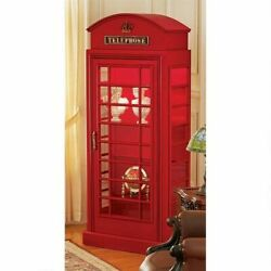 Classic British 6' Public Telephone Booth Replica Lighted Cabinet With 4 Shelves