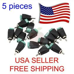 5 Pieces Speaker Wire Cable To Audio Male Rca Connector Adapter Jack Plug Bose
