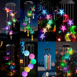 Color Changing Solar Powered Led Wind Chime Hummingbird Butterfly Garden Lights