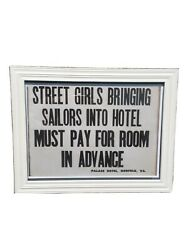 Vintage Signs Humorous Old Sailors Street Girls Hotel Funny
