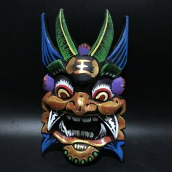 Chinese Antique Wooden Devil Mask Hand Carved Wood Collection Abstract Decor