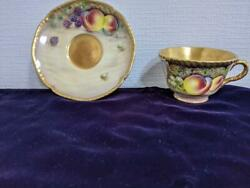 Royal Worcester Cup And Saucer Hand Painted Fruit Vintage Bone China England