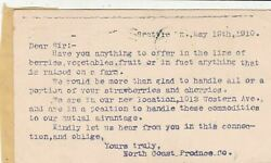 U.s. Frm North Coast Produce Seattle 1910 Items To Handle Postal Card Ref 42801