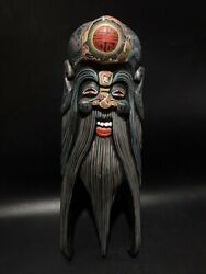 15 Chinese Antique Decor Vintage Carved Wooden Hand Painted Mask Wooden Devil