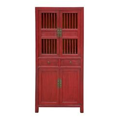 Chinese Distressed Red Small Display Bookcase Curio Cabinet Cs6943